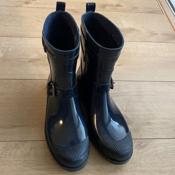 Coach dark blue rain boots